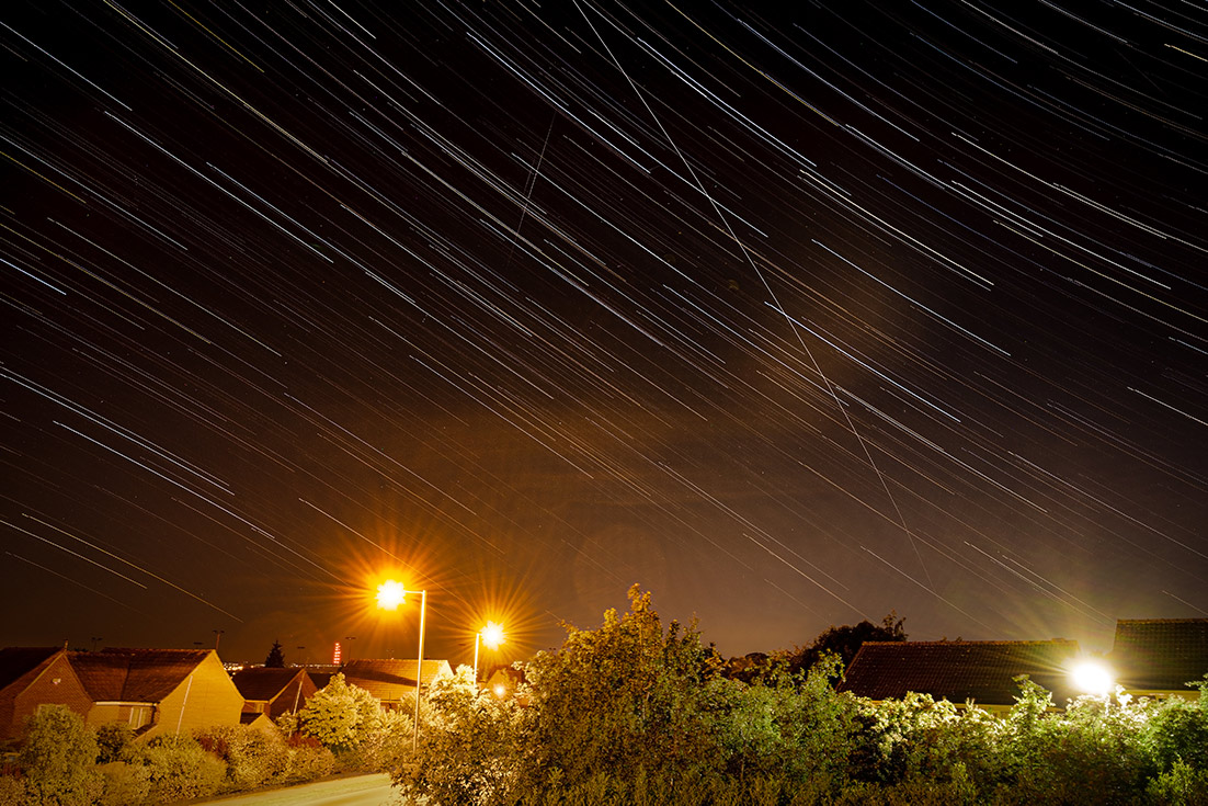 Star trails and ISS